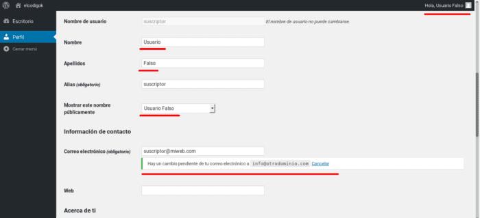 Verificación de correo en WordPress 4.9