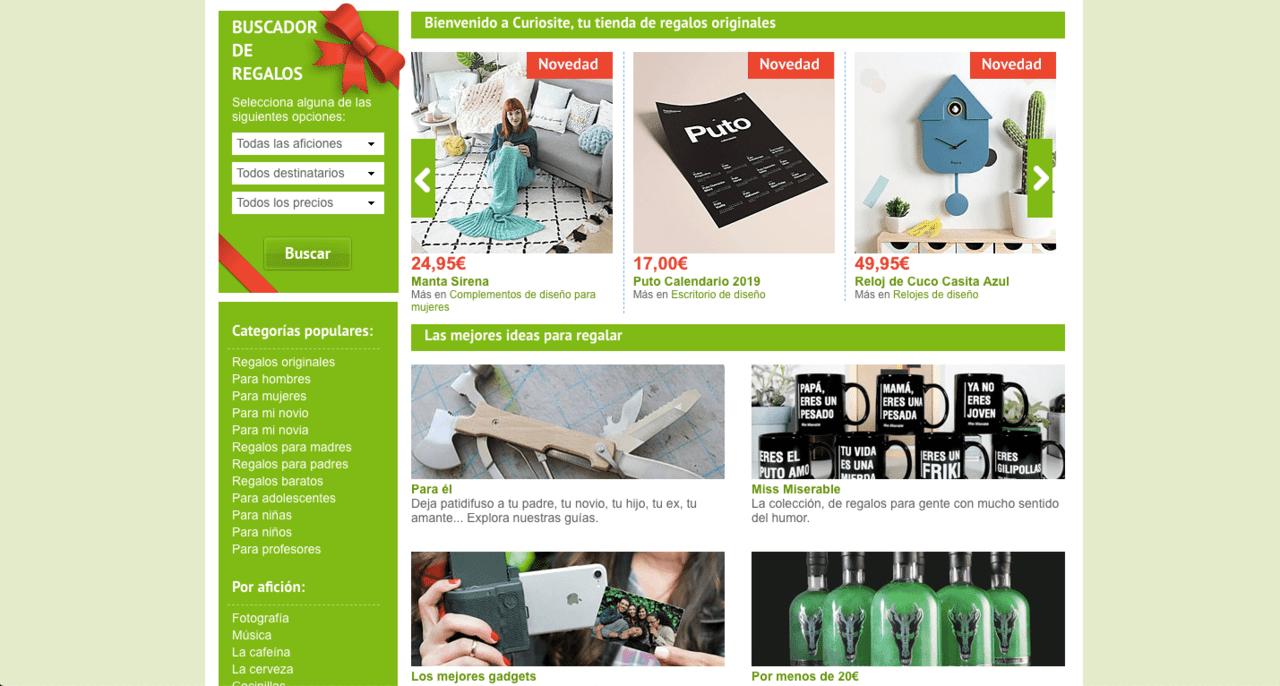 Ejemplo Curiosite de campañas navideñas en eCommerce