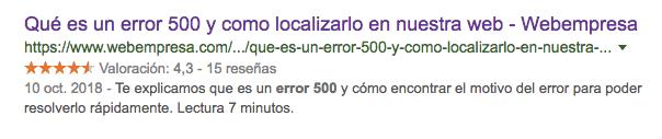 Rich Snippets, ejemplo en resultados en Google