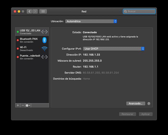 Selecciona conexión de red en Mac OSX