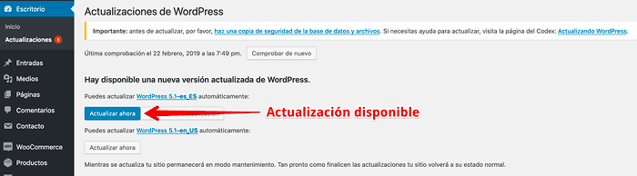 Disponible actualización a WordPress 5.1