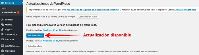 Disponible actualización a WordPress 5.1