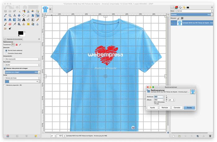 Editando un producto en GIMP