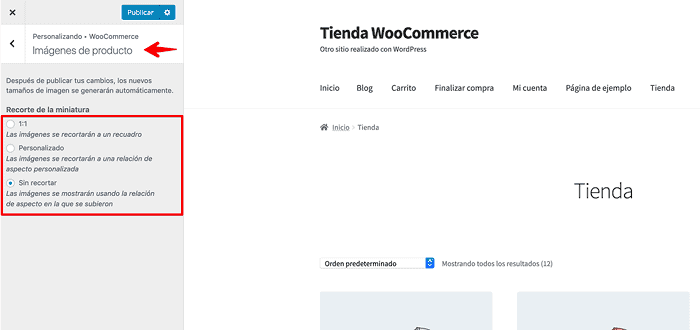 Configuracion imágenes WooCommerce