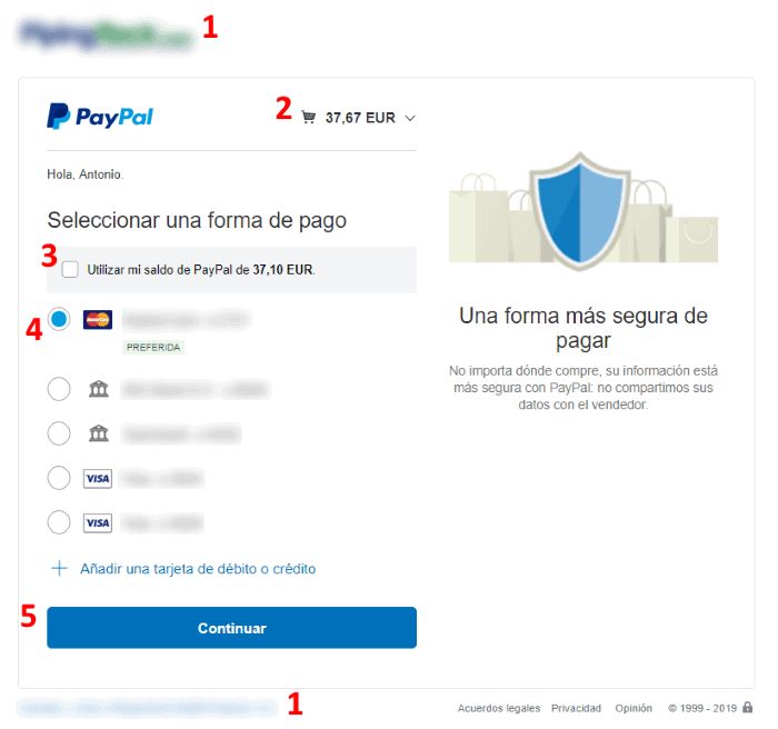 Visualización de datos e importe de compra en PayPal