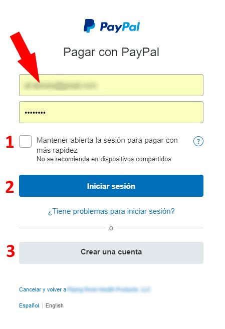 Introducir nombre de usuario y contraseña