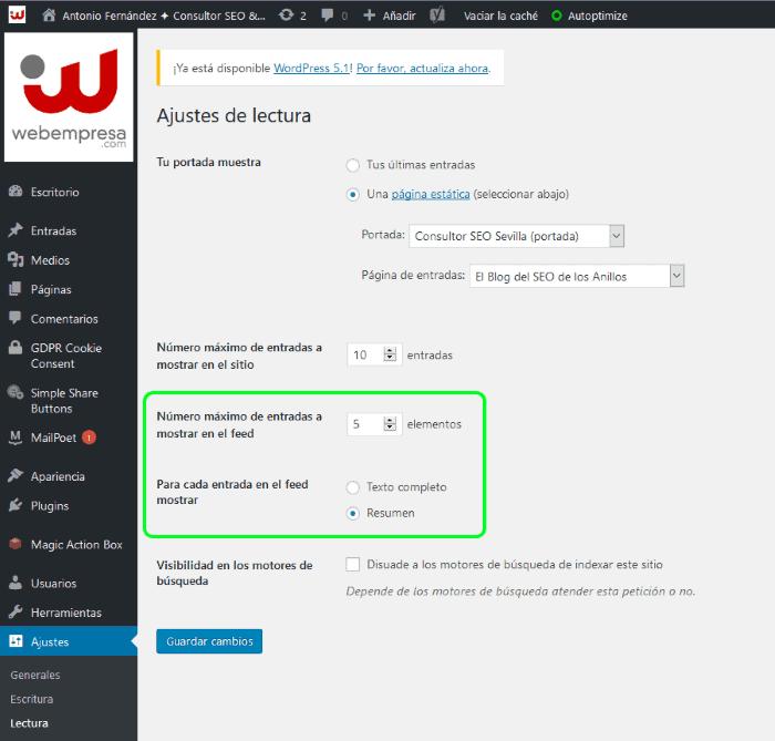 Cómo configurar el RSS Feed de tu sitio Web en WordPress