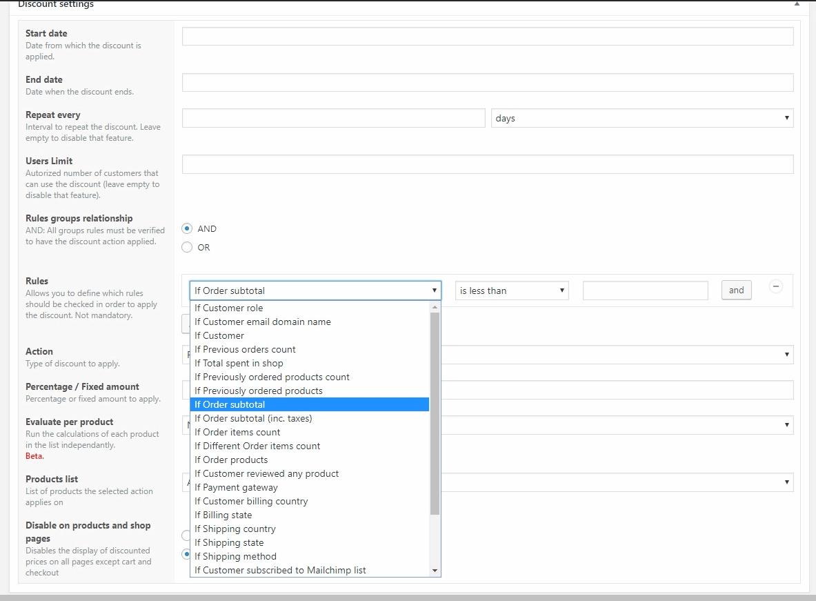 Descuentos en WooCommerce: configuración por condicionales o reglas