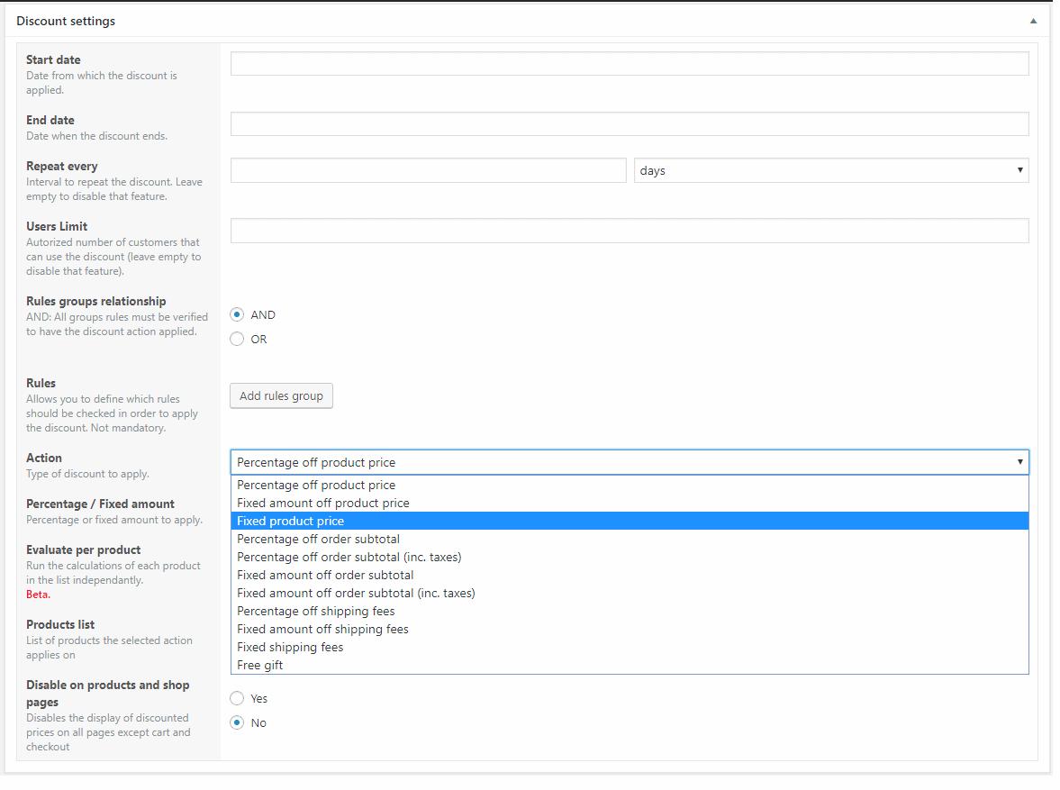 Posibilidades de descuentos en WooCommerce