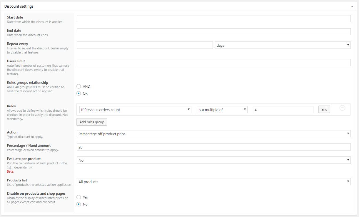 Configurar el descuento para aplicarse según un múltiplo de número de comprass en WooCommerce