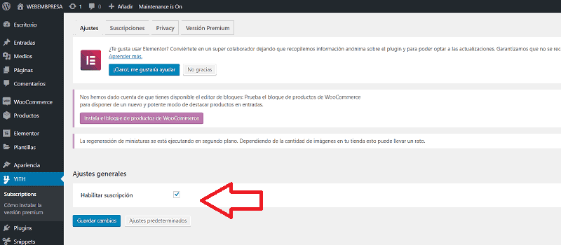 Pagos recurrentes en WooCommerce: ajustes del plugin YITH WooCommerce Suscription