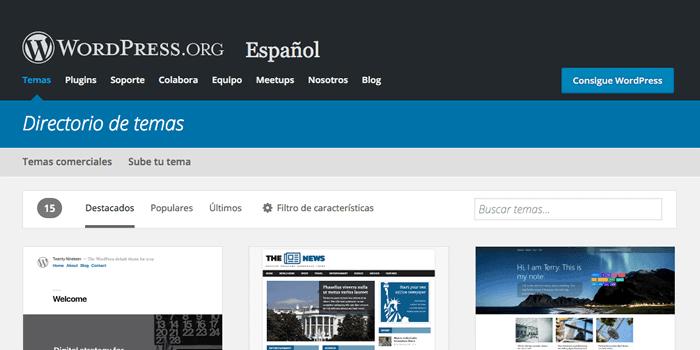 Directorio de temas de WordPress