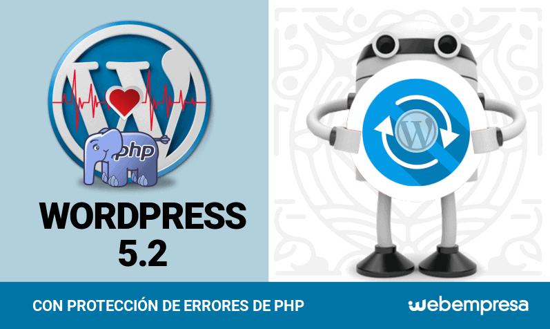 WordPress 5.2 con protección de errores de PHP