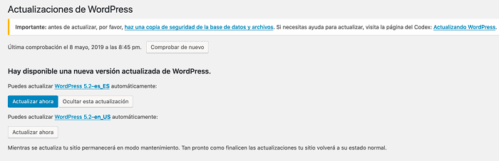 Disponible actualización a WordPress 5.2