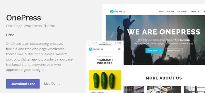 Temas WordPress preparados para AMP: OnePress