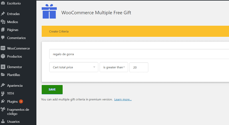 Opción de criterios en plugins en WooCommerce