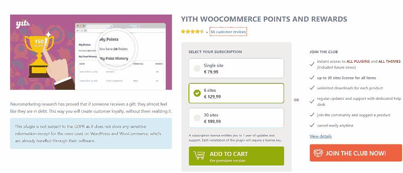 Plugin de regalos de puntos Premium en WooCommerce