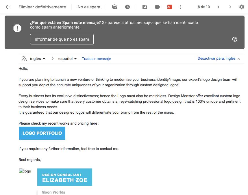Cómo evitar el Spam en Email Marketing: ejemplo correo no deseado