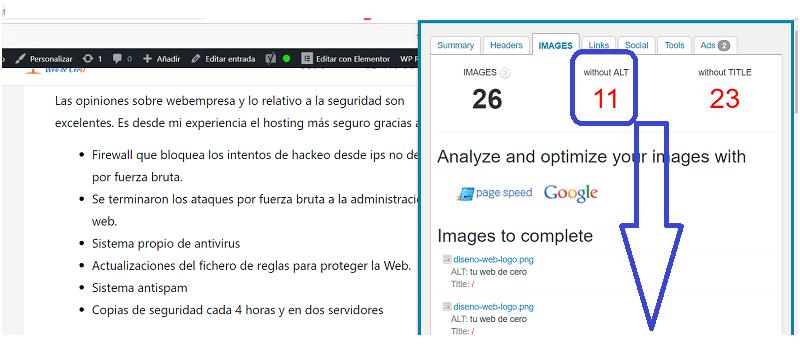 Atributos de imágenes en WordPress y SEO: imágenes sin atributo del texto alternativo