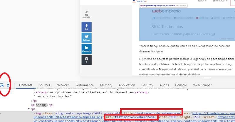Atributos de imágenes en WordPress y SEO: inspeccionar atributos