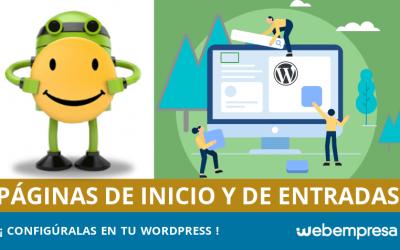 Página de inicio en WordPress y Página de entradas