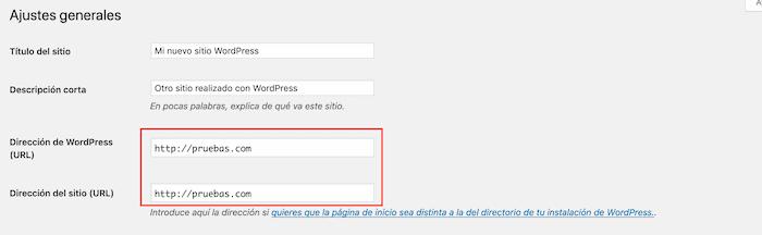 Opciones Dirección de WordPress y Dirección del sitio