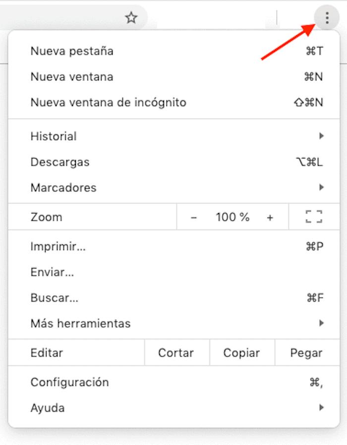 Borrar caché en Chrome: paso 1