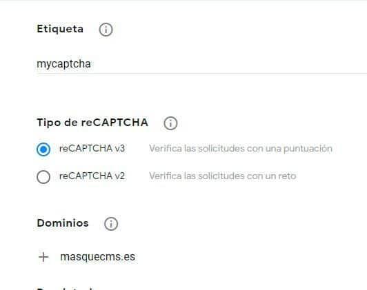 Formulario de registro de Dominio Captcha