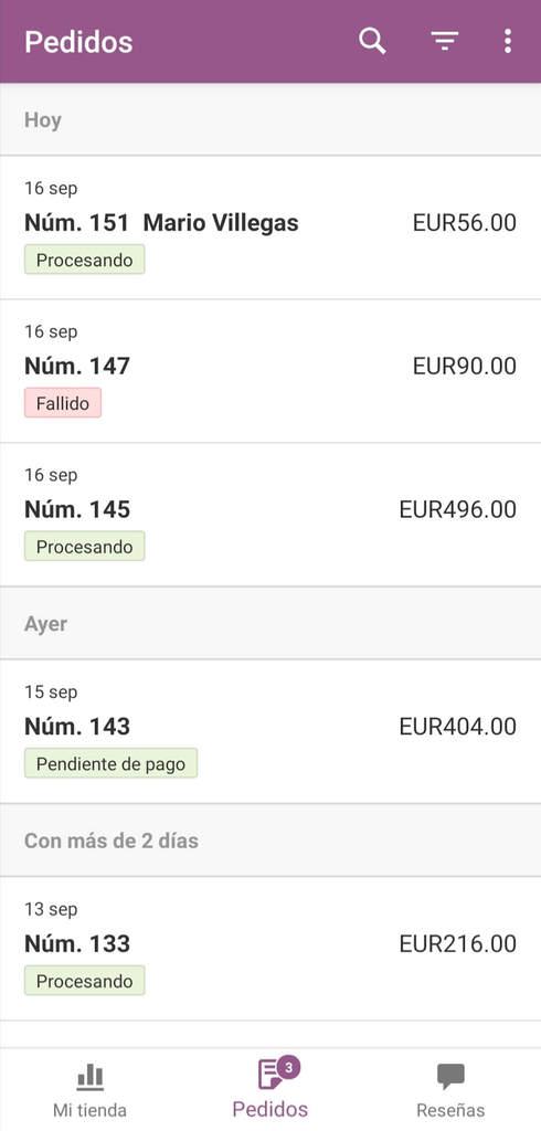 Cómo administrar WooCommerce desde tu móvil: Sección de pedidos