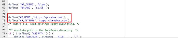 Añadir código en el archivo wp-config