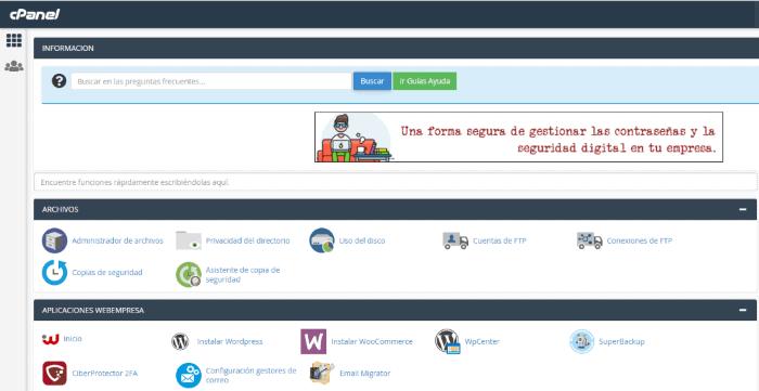 Cómo configurar una tienda online WooCommerce: cPanel de Webempresa