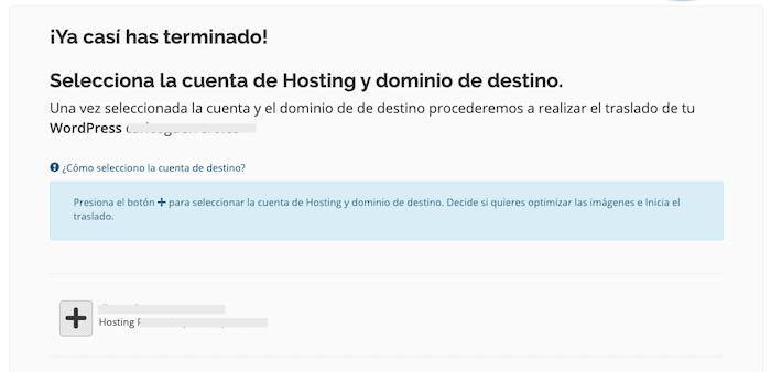 Selección de hosting y dominio de destino