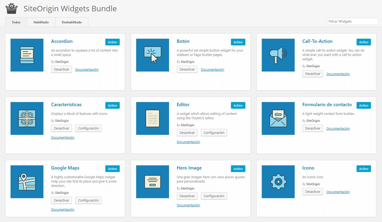Configuración SiteOrigin Widgets
