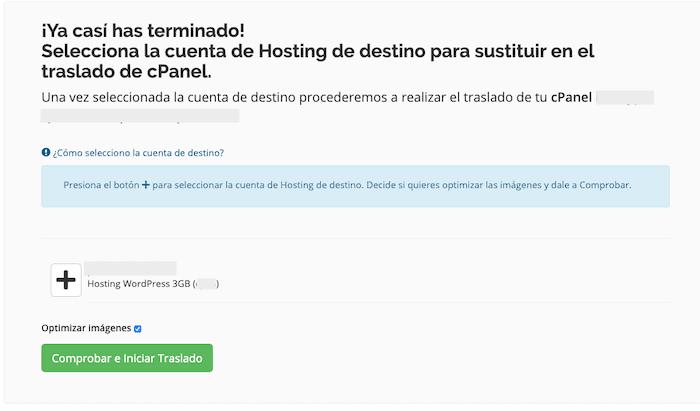 Selección de cuenta de hosting de destino