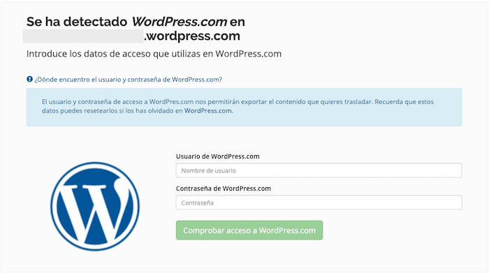Datos de acceso de wordpress.com
