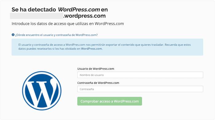 Datos de acceso de wordpress.com