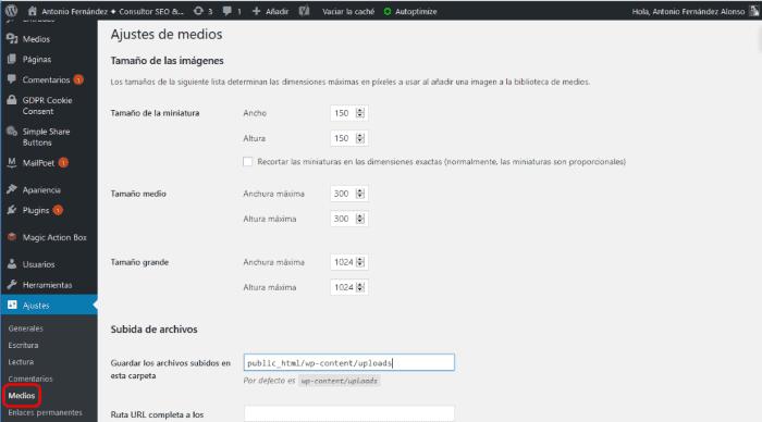 Gestión de las miniaturas generadas por el WordPress