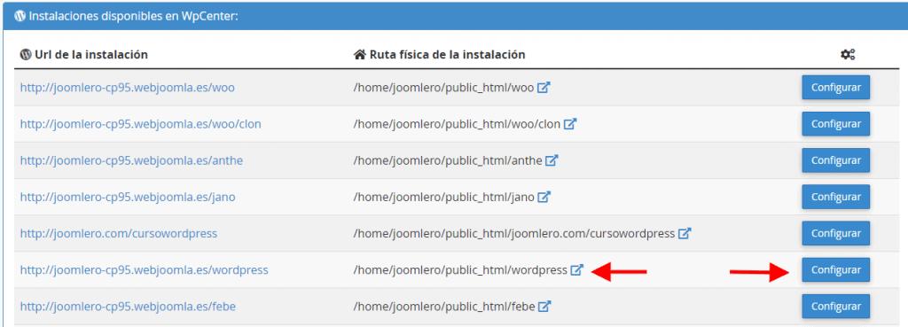 Configuración de WPCenter