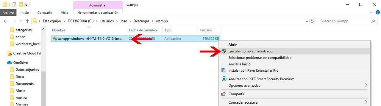 Ejecutar instalador Xampp