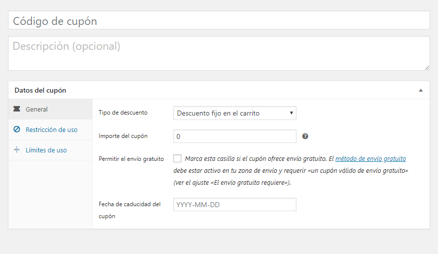 Configuración de cupón sin plugin activado