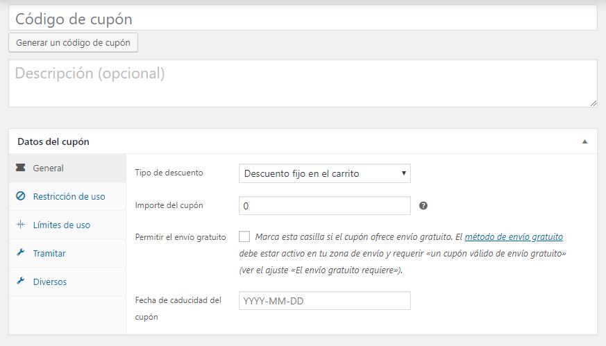 Configuración de cupón con plugin WooCommerce Extended Coupon Features FREE activado