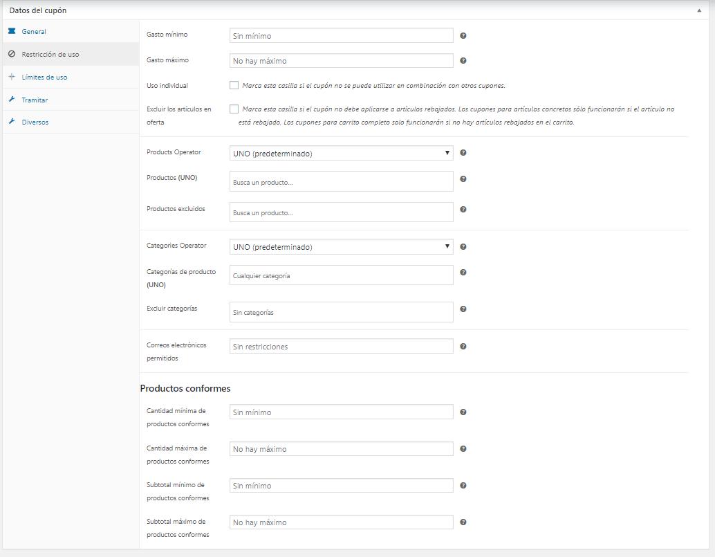 Configuración del cupón en la pestaña Restricciones de Uso