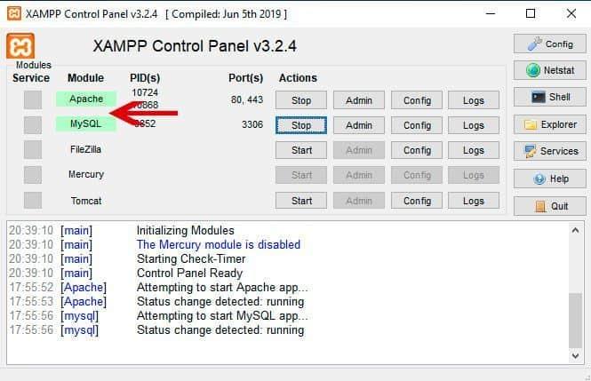 Servicios Apache y MySQL en verde