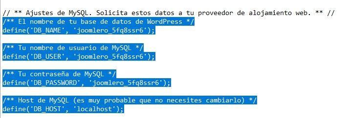 Modificar los defines de conexión a la base de datos