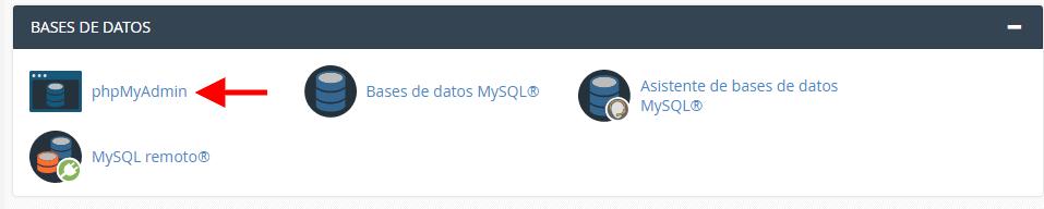 Aplicación phpMyAdmin en cPanel