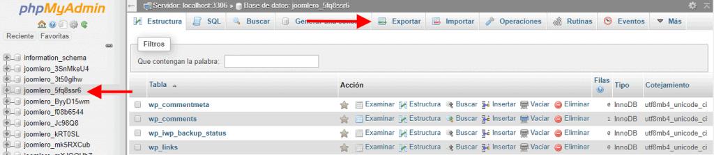 Seleccionar y exportar la base de datos