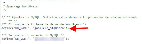 Ver datos de configuración del WordPress