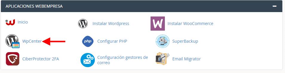 Aplicación WPCenter de Webempresa