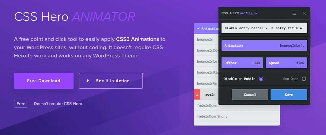 Plugin CSS Hero Animator