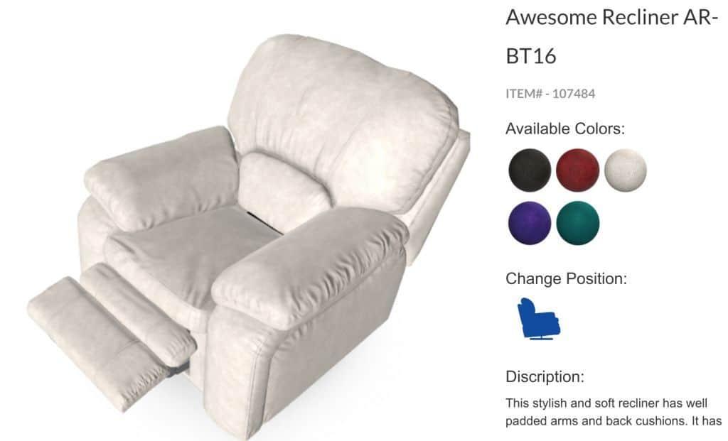 Ejemplo 3d sofá colores